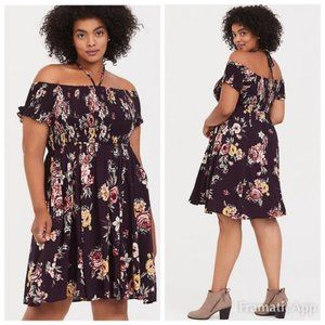 NWT Torrid Purple Floral Smocked Halter Dress XL